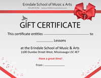 Image of a gift certificate for music or art lessons in Erindale School of Music & Arts (Mississauga music school)